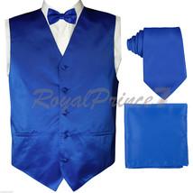 Royal Blue Tuxedo Dress Vest Waistcoat and Neck tie Butterfly Bow Tie & Hanky - $20.77+