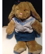 Build A Bear Bunny Long Ears Butterfly Denim Outfit 18 Inches - $24.75