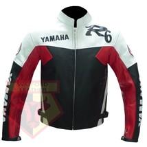 YAMAHA R6 RED MOTORCYCLE MOTORBIKE BIKERS ARMOURED COWHIDE LEATHER JACKET - $194.99
