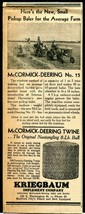 Hartford City IN 1941 McCormick-Deering  Baler~ Newsp Ad - Kriegbaum Implement - $8.06