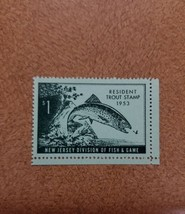 1953 $1 Resident Trout Stamp, New Jersey Division of Fish & Game Mint F/... - $4.76