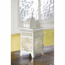 White Iron Candle Lantern w/ Floral Filigree Scrollwork Moroccan Style  - $18.76