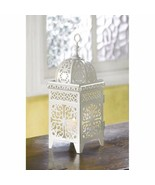 White Iron Candle Lantern w/ Floral Filigree Scrollwork Moroccan Style  - $22.45