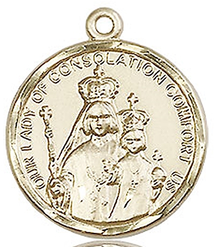 Our lady of consolation medal   14kt gold    no chain   0038