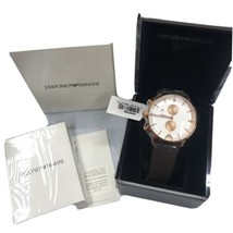 100% Authentic Emporio Armani Chronograph Brown Leather Band Watch AR0398 - $112.19
