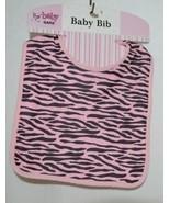 Ganz BG3191 Pink Black Zebra Hook Loop Baby Girl Infant Bib - $8.00