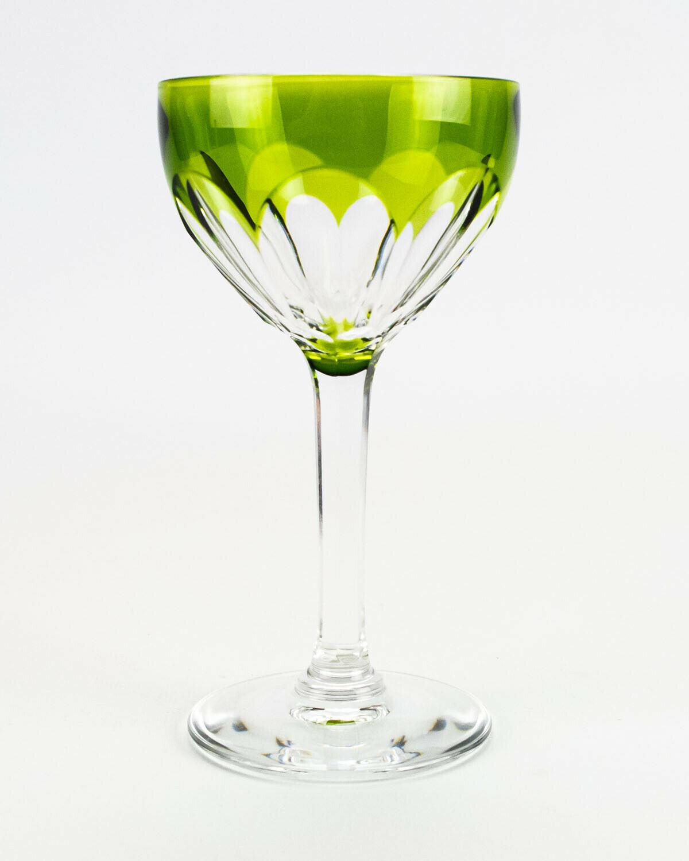 "Val St Lambert Osram Green Cut to Clear Wine Glass, Vintage Belgium 3.5oz 5 1/2"" - $58.80"