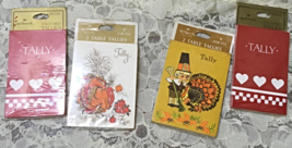 Set of Four Vintage Hallmark Bridge Tallies Holiday Themed Tally Cards - $10.00