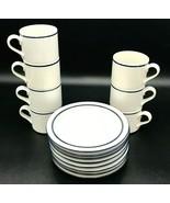 Dansk Bistro Teacup Coffee Christianhavn Blue 7 Cup 8 Saucer Sets Mug Japan - $34.99