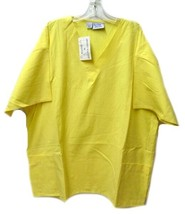 Scrub Top  Yellow V Neck Allstar Uniforms 3XL Solid 2 Pocket Women's New - $16.46