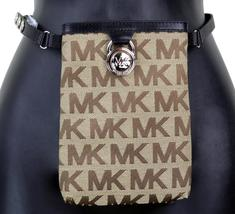 Michael Kors MK Women's Cut Out Leather Canvas Purse Belt Fanny Pack Bag 551501 image 3