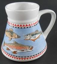 Spill proof Rubber Bottom FISH Coffee Cup Mug Fisherman's Delight No Sli... - $14.84