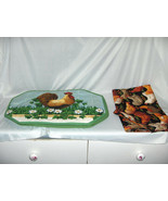 5 Pc Table Set 4 Rooster Quilted Placemats 1 Chicken Table Runner Washab... - $34.65