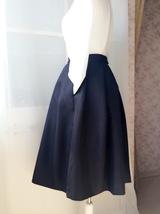 Elegant Black Taffeta Pleated Skirts Tea length Black Tea Skirts High Waist NWT image 4