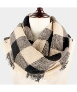 Beige & Black Buffalo Plaid Woven Infinity Scarf - ₹1,129.89 INR