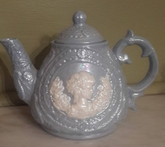 Beautiful Light Blue and white Luster ware Ceramic Teapot with woman and... - $19.00