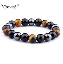 Natural Black Obsidian Hematite Tiger Eye Beads Bracelets Men for Magnetic Healt - $16.99+
