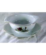 Thames China Moss Rose Gravy With Attached Underplate - $10.07