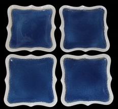 4 Roscher Hobnail Bead Distressed Blue Cream Scalloped Square Dinner Plates NEW - $52.99