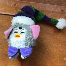Two-Toned Gray Skating FURBY with Purple & Green Striped Knit Hat Christ... - $8.59
