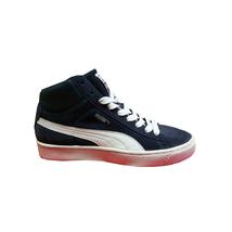 Puma - Sneaker alto in scamosciato blu e pelle bianco - $89.00
