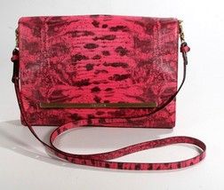 Brahmin Tablet Flap Pink Fairview Leather Python Embossed Crossbody Shou... - $172.69