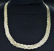 Sterling Silver .925 Italian Multi- Strand Braided Choker Necklace Vinta... - $59.39