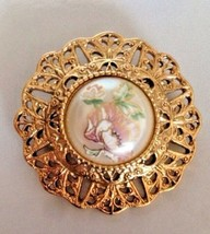 Vtg 1928 co BROOCH PIN Pink Porcelain Rose Faux Pearl Gold Tone  - $18.79