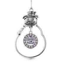 Inspired Silver Law Enforcement Support Circle Snowman Holiday Christmas... - $14.69