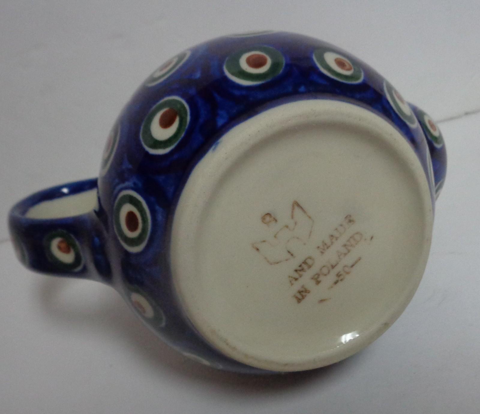 """Hand Painted Tea Pot Poland 6 """" Blue Porcelain"""