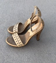 8b91d03fa7c2 Michael Kors Cream Heels stud Wood Platform Sandals Ankle Strap Shoes Sz 6  -  49.38
