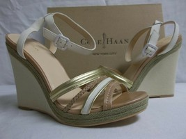 Cole Haan 11 M Nassau Leather Ivory Sandstone Open Toe Wedges New Womens... - $64.80