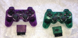 Wireless Shock Game Controller Lot for the Ps2 Transparent Green & Purple - $29.70