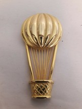 Hot Air Balloon Brooch Marked OMJENT Gold Tone - $13.85