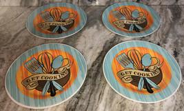 """Royal Norfolk 10 1/2"""" Dinner Plates Set Of 4 Teal/Orange Get Cookin!-NEW... - $49.38"""