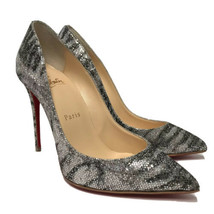 New Christian Louboutin Pigalle Silver & Black Heels Size 35 US 5 - $834.19