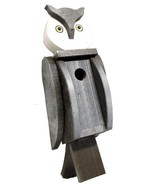 OWL BIRDHOUSE - Solid Wood Post Mount Bird House Amish Handmade in USA - $79.17