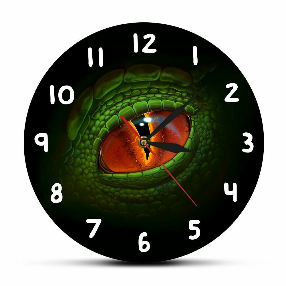 Primary image for Green Dino Dragon Eye Wall Clock Acrylic Dinosaur Eyeball Fantasy Room Decor