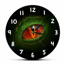 Green Dino Dragon Eye Wall Clock Acrylic Dinosaur Eyeball Fantasy Room D... - $40.27