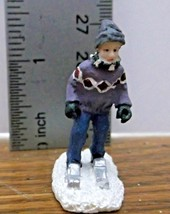 Christmas Village Accessory A Boy Skiing Very Good Condition Resin - $6.92