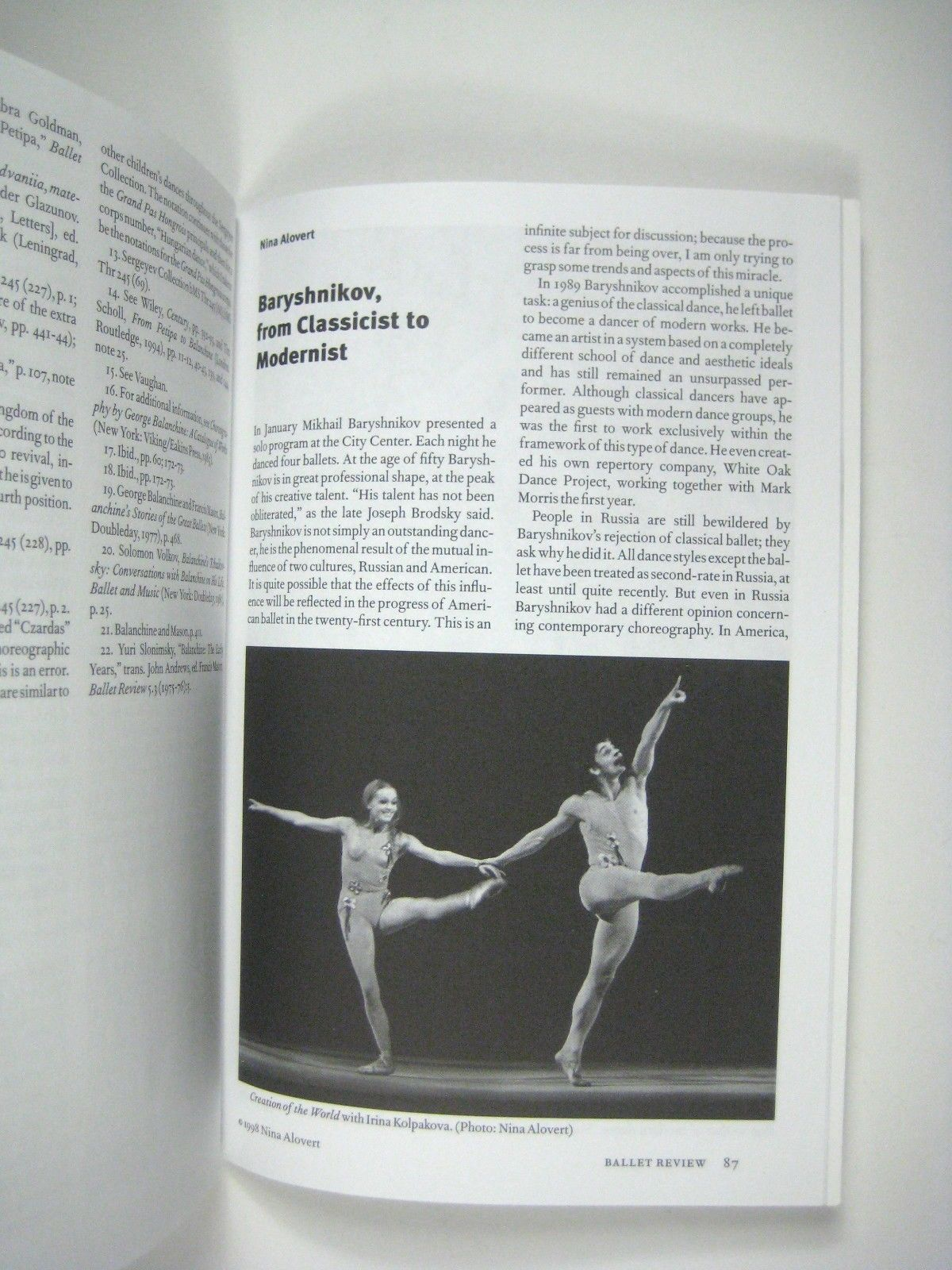 Ballet Review 26.4 Winter 1998 Francis Mason Dance Research Rick Fisher Una Kai
