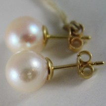 SOLID 18K YELLOW GOLD EARRINGS WITH AKOYA PEARLS 9.5 MM, MADE IN ITALY image 2