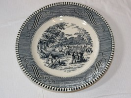 "Vintage Royal Currier & Ives Harvest Blue White 6 1/2"" Bread Plate USA s... - $20.78"