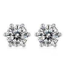Love Promise, Gorgeous 925 Sterling Silver Round 5mm Moissanite Stud Ear... - $69.95