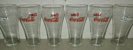 "Set 6 Vintage Coca Cola Coke Red / White Clear Glasses 6"" Tall - Bell Sh... - $29.59"