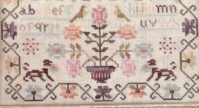 Pink Sparrow Sampler cross stitch Country Stitches/With Thy Needle &Thread