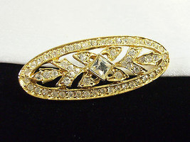 Vintage Napier Rhinestone Gold Plate Oval Brooch Pin Small Classic Estate  - $14.85