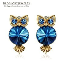 Antique Light Yellow Gold Color Blue Crystal Owl Stud Earrings For Women... - ₹1,175.95 INR