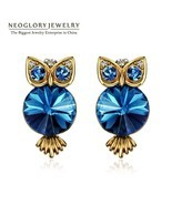 Antique Light Yellow Gold Color Blue Crystal Owl Stud Earrings For Women... - $15.50