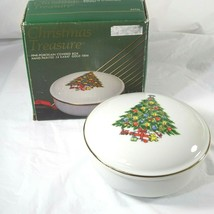Vtg Jamestown Christmas Treasure Covered Candy Dish Porcelain China Trin... - $9.89